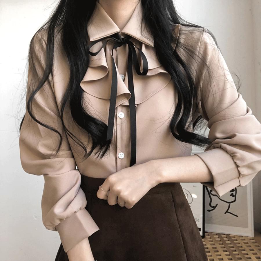 Nami frill strap ribbon blouse