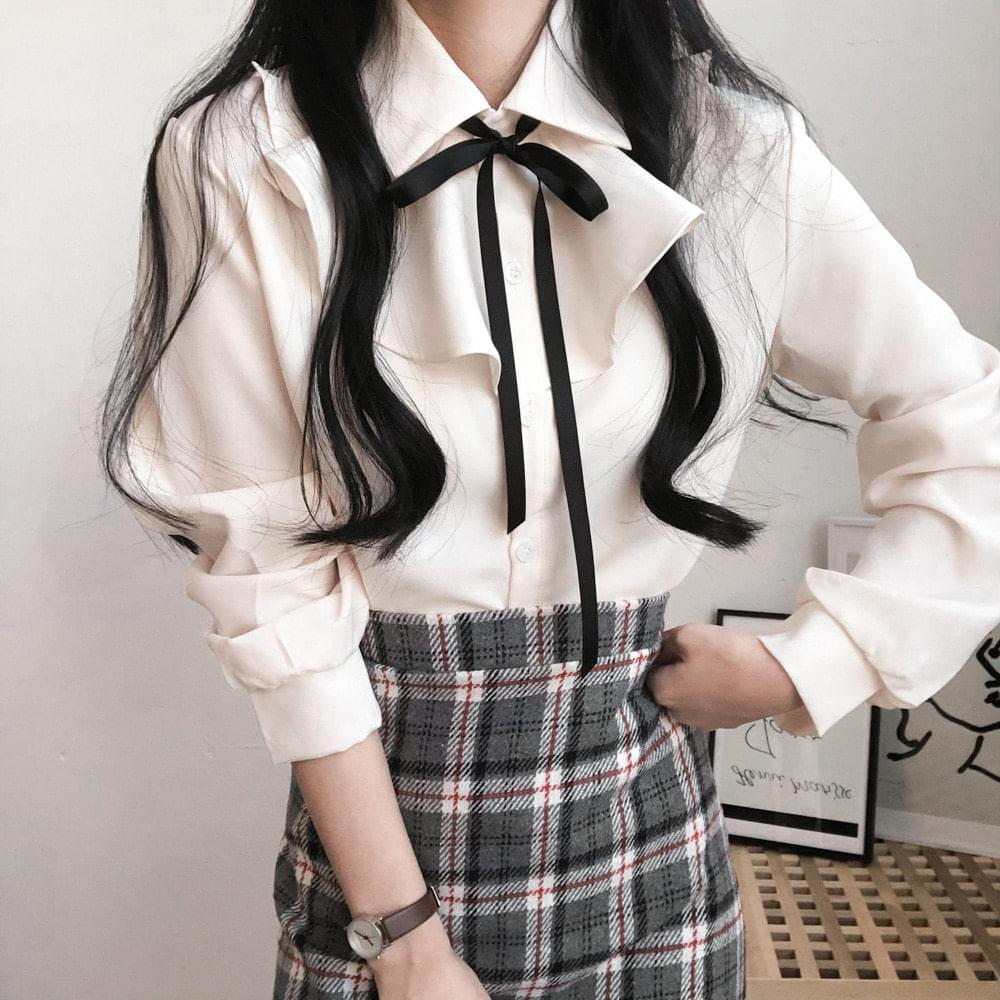 Nami frill strap ribbon blouse 襯衫
