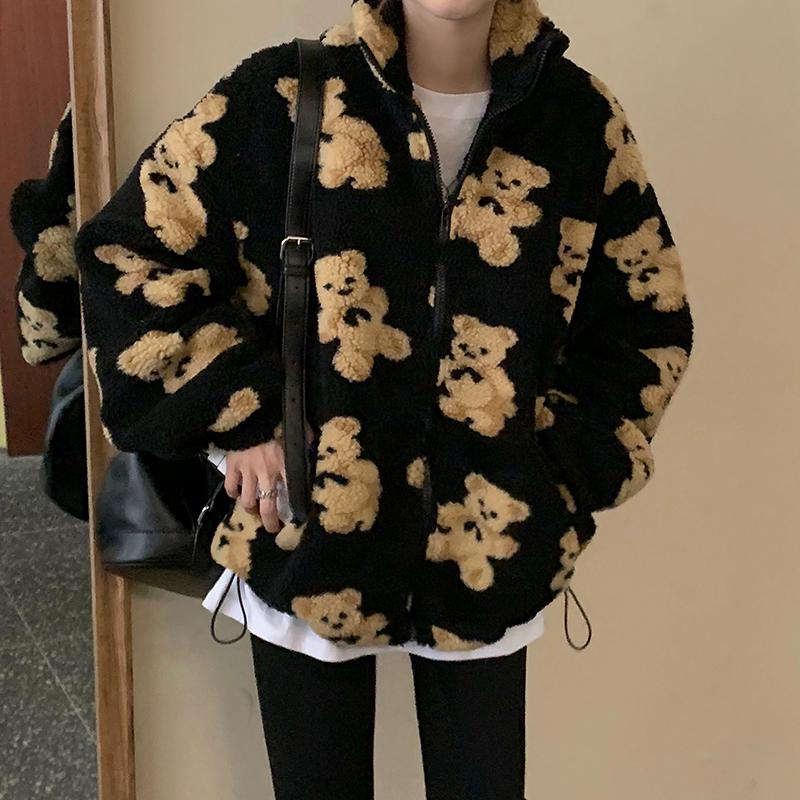 可愛泰迪熊圖拉鏈夾克外套