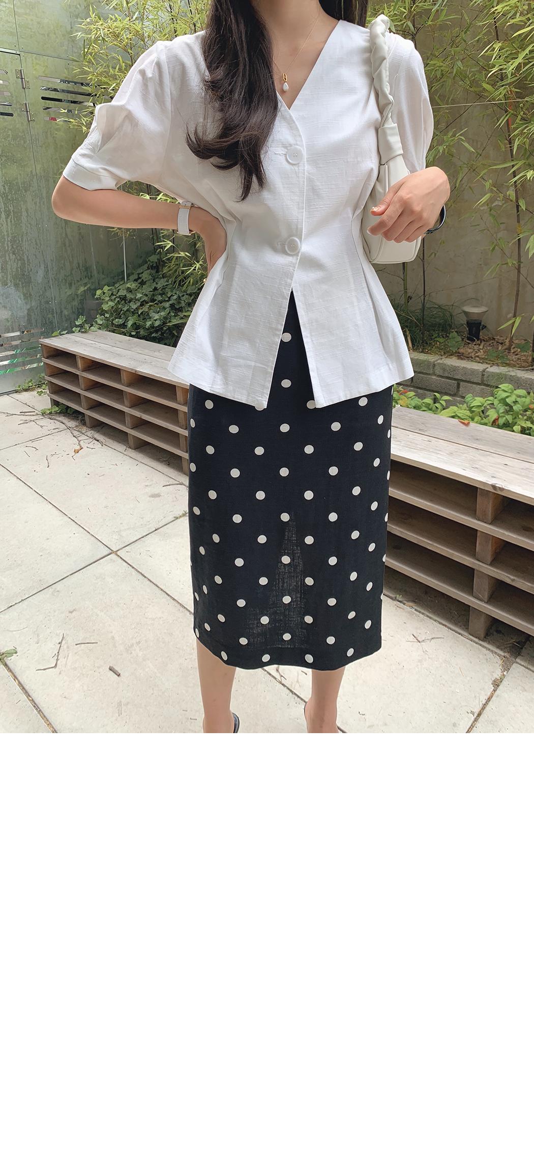 Polka-dot linen pencil skirt