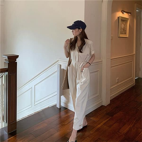 js1423 The Little Girl Daily Simple Jumpsuit 及膝洋裝