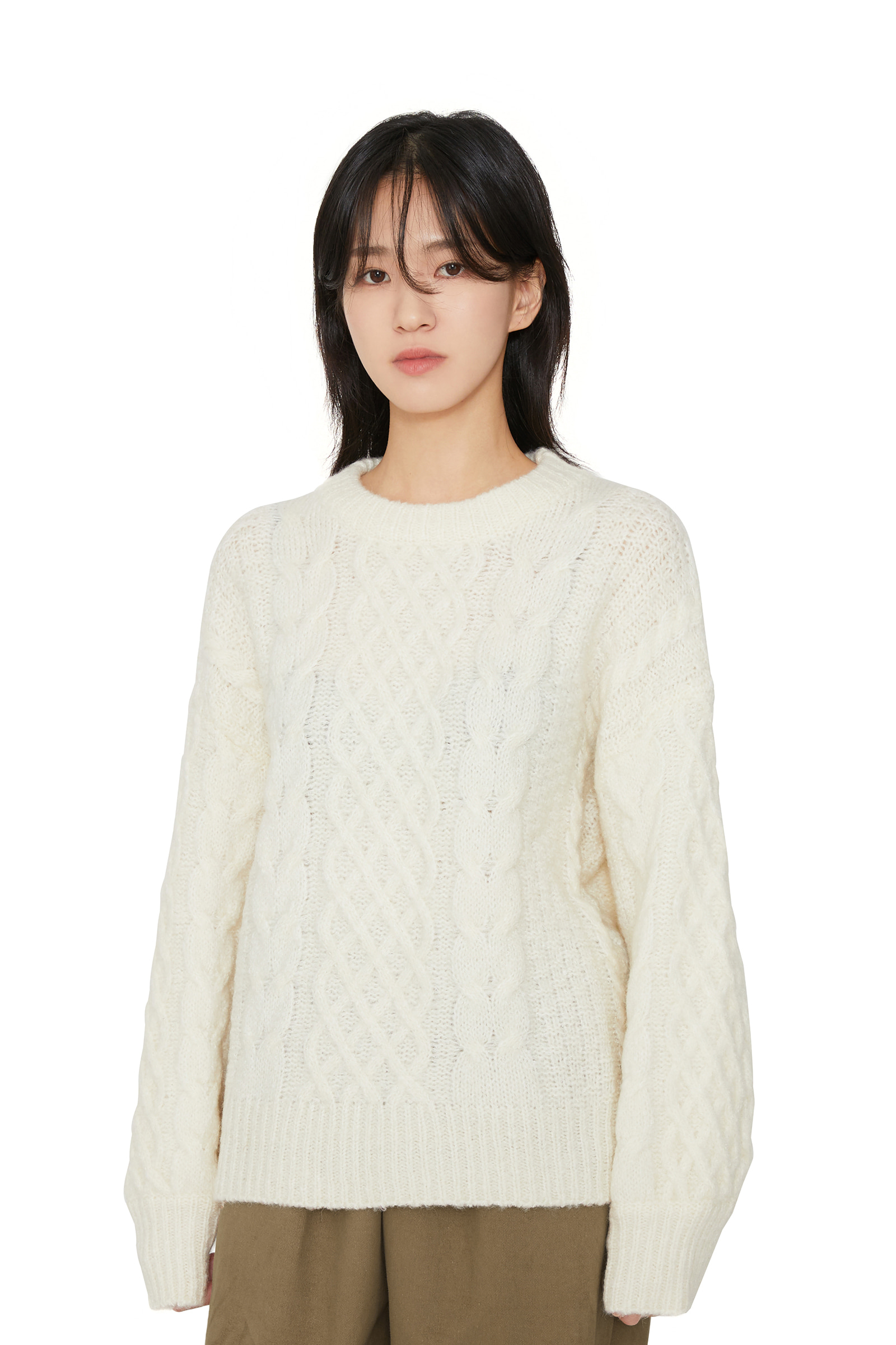 Purdy cable crew neck knit