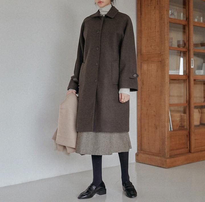 混羊毛拉克蘭袖單排釦大衣