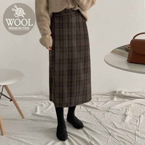 Cube Wrap Wool Check Long Skirt