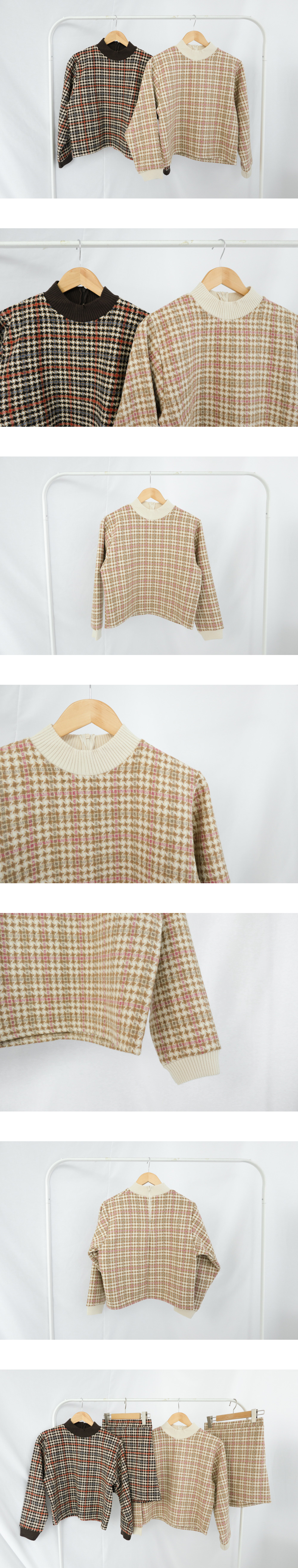 Houndtooth tweed blouse