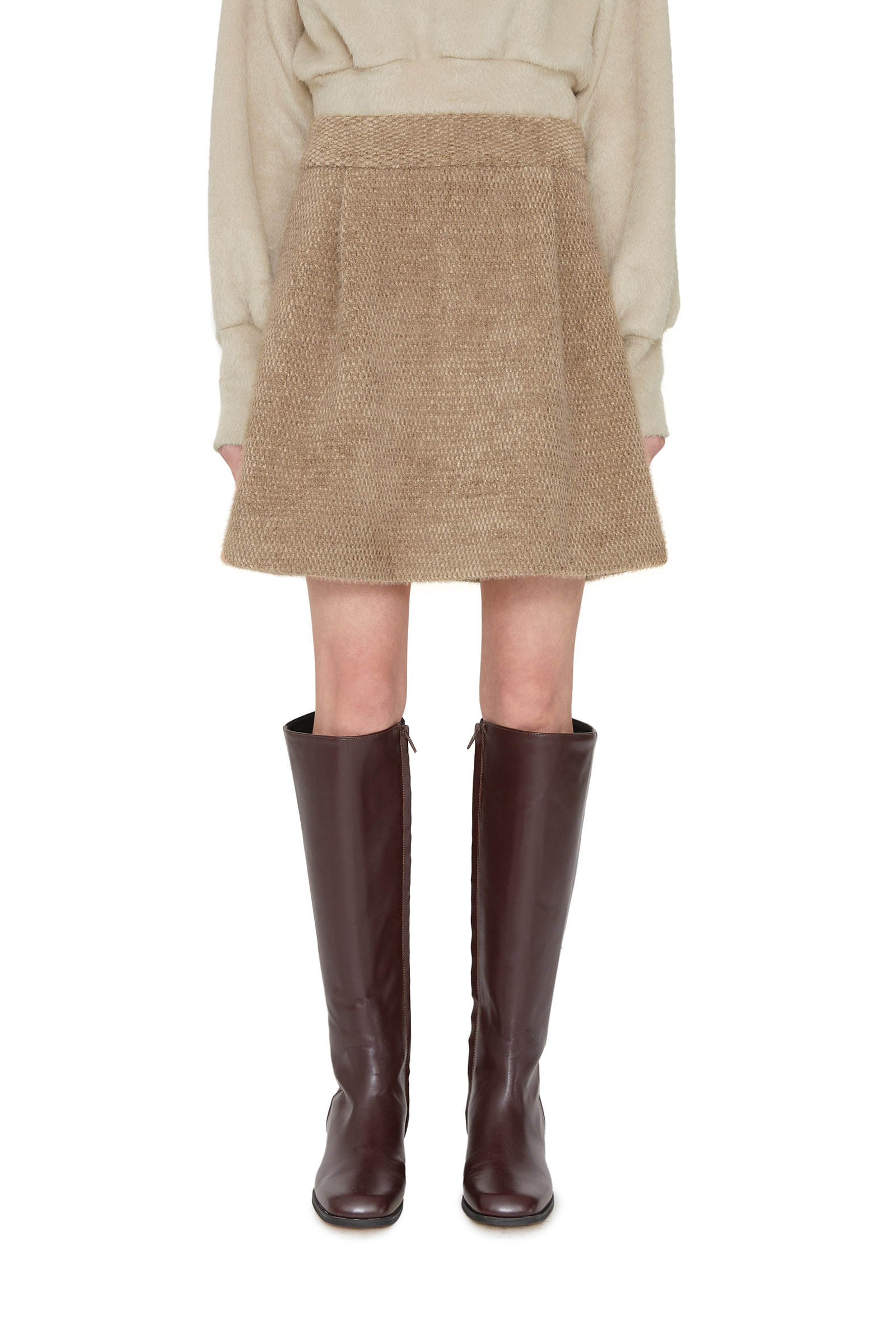 Bird shearling wool mini skirt