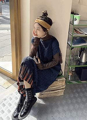 韓國空運 - op0854 New Gen Twisted Knitwear Dress 及膝洋裝