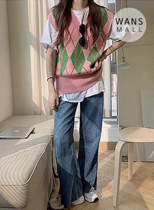 韓國空運 - vt2447 Pore Argyle Knit Vest 針織外套