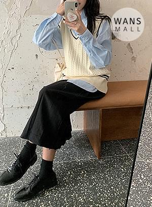 vt2490 general v neck knitted vest