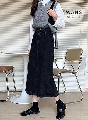 sk2518 closet denim long skirt