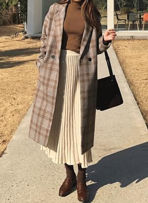韓國空運 - ct0631 Jane Check Long Coat 大衣外套