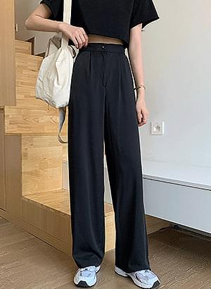 sl1475 straight pintuck slacks pants