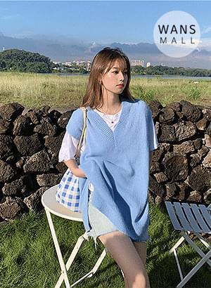 vt2571 Blueberry V Neck Knit Vest
