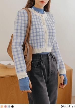 WOOL CHECK CROP KNIT CARDIGAN WITH CELEBRITY _ 효정(오마이걸) 착용