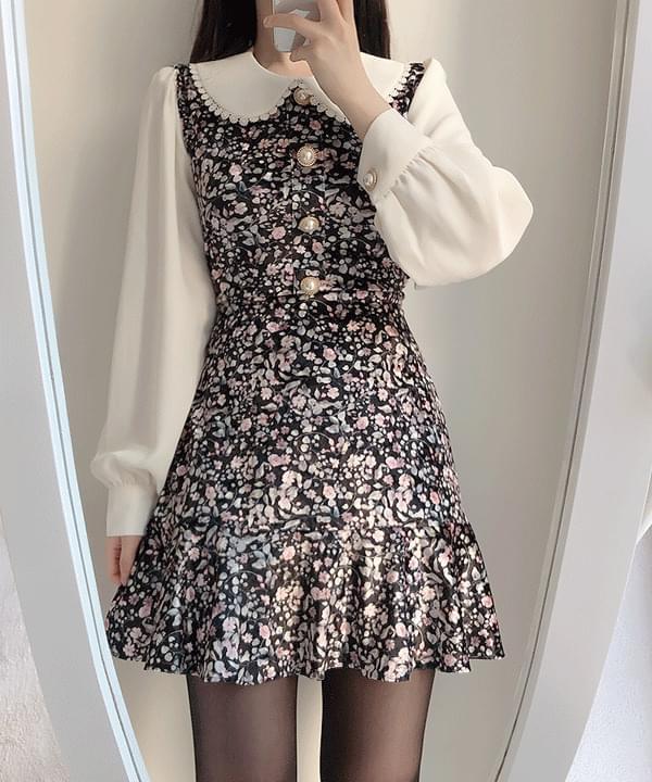 Miu Velvet Collar One Piece 2color 洋裝