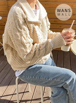 kn3215 Eden semi-zip knit