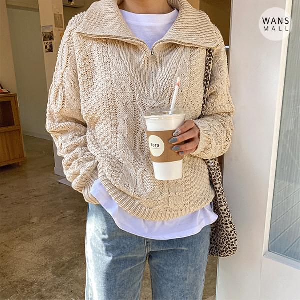kn3215 Eden semi-zip knit (Delayed delivery)