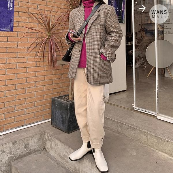 jk3221 mercy check wool jacket (人氣商品配送延遲) 夾克外套