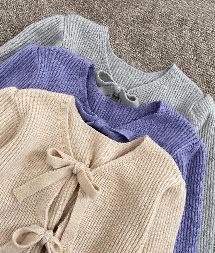 可愛蝴蝶結短版開襟衫