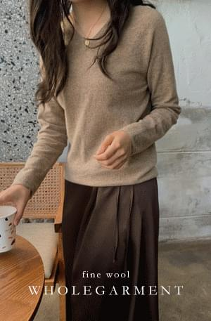 《Planned Product》 Whole Garment Cash V Neck Knit