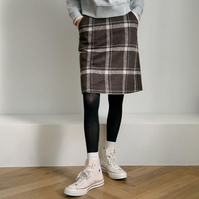 West Wool Check Skirt 裙子