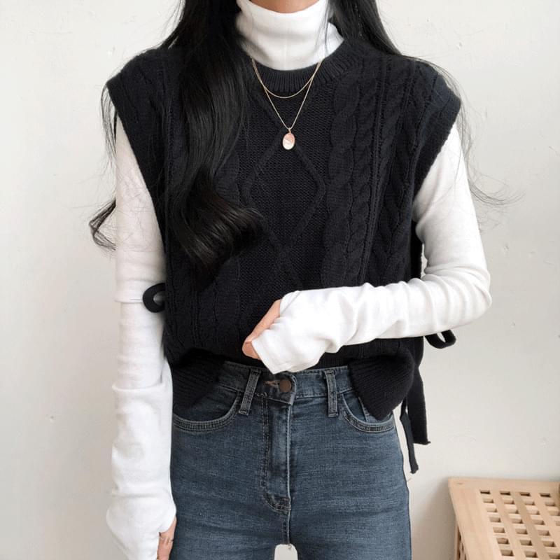 韓國空運 - Twisted Knitwear Side Ribbon Vest 針織衫