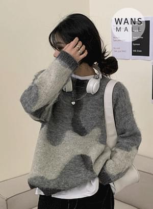斑駁圓領針織毛衣
