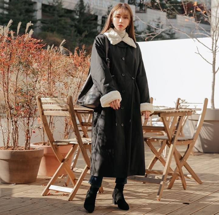 Faux Fur Lining Drawstring Coat