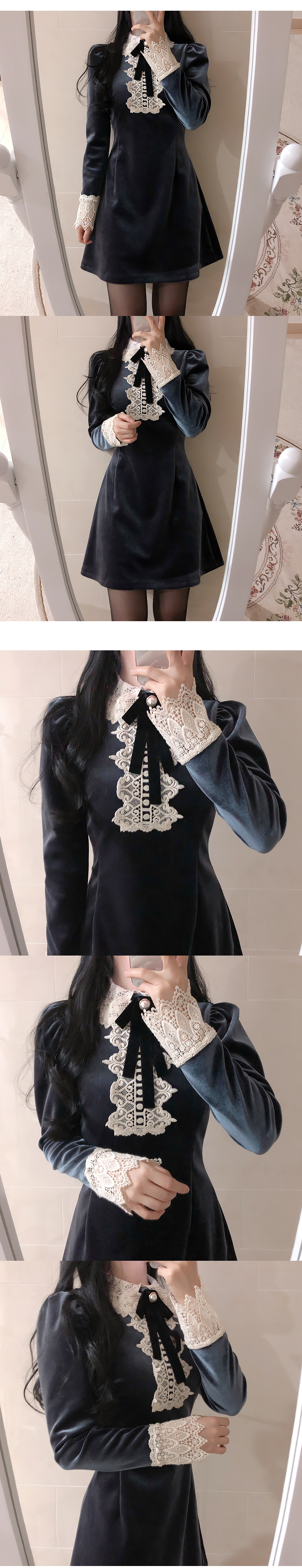Jewelle Lace Velvet Dress 2color