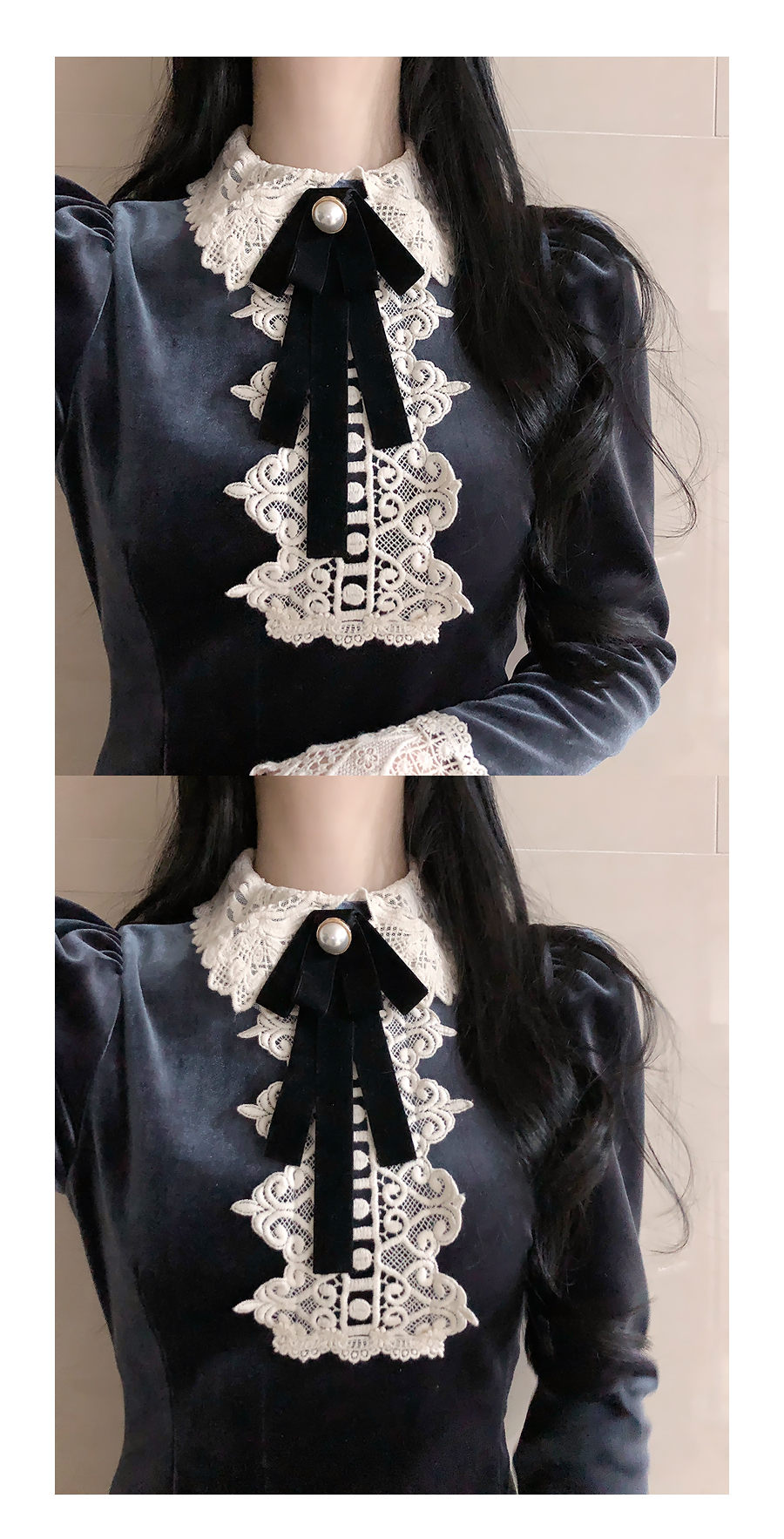 Brooch set Jewelle lace velvet dress