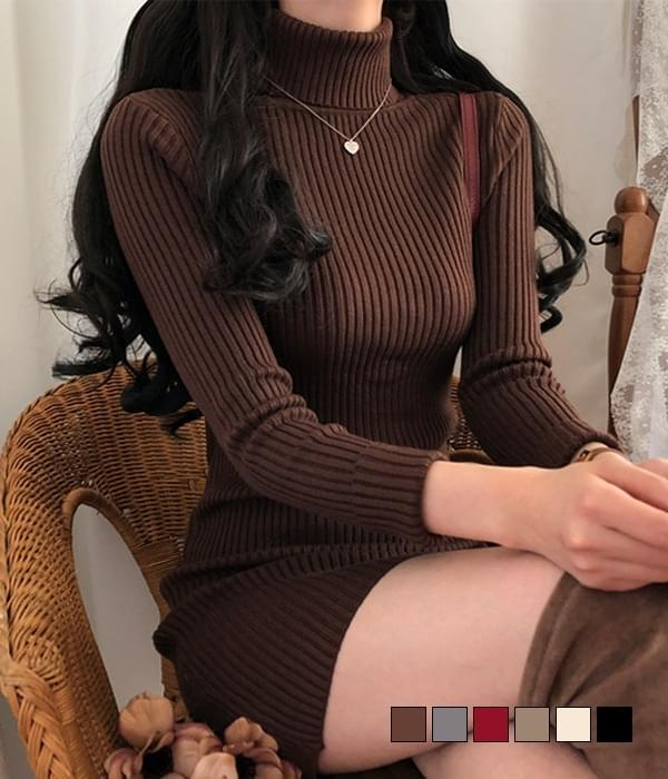 Rosena Poke Turtleneck Ribbed Dress 及膝洋裝