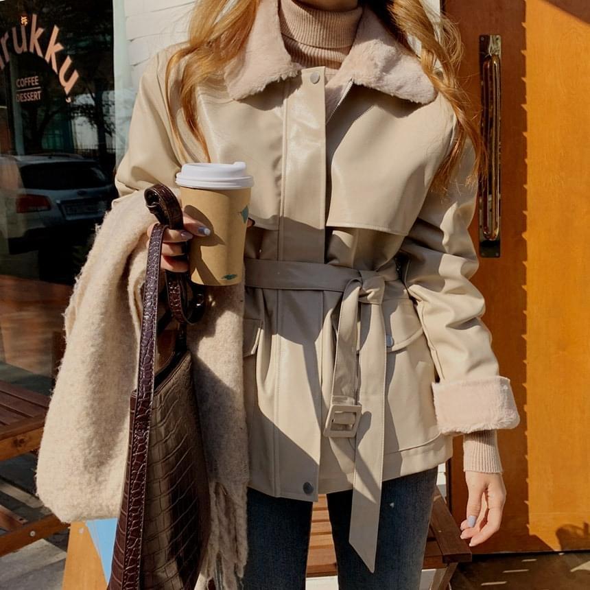 Lewin Leather Belt Fur Shearling Jacket