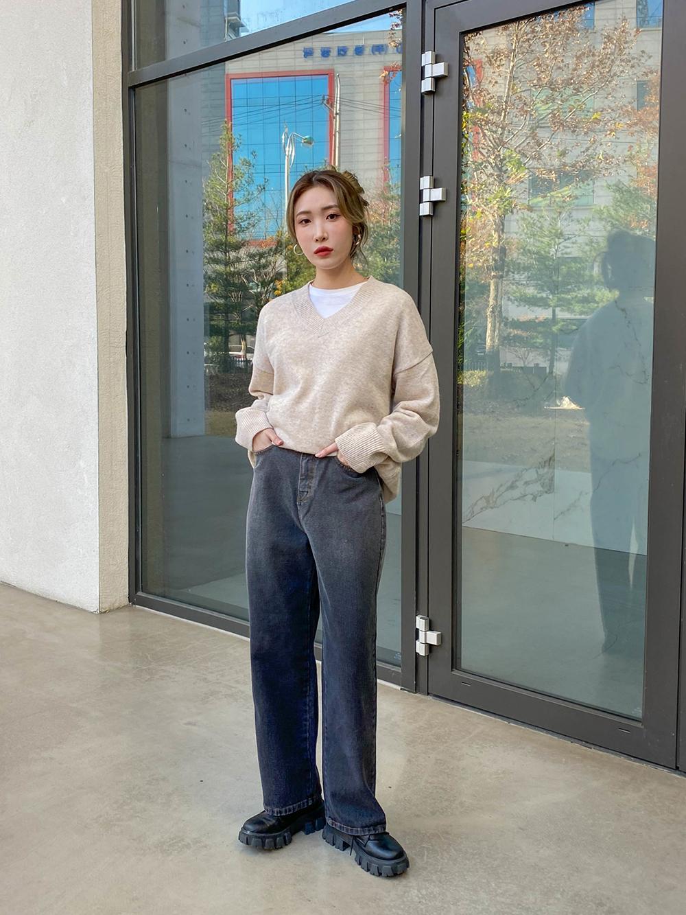 Gradient wide denim trousers