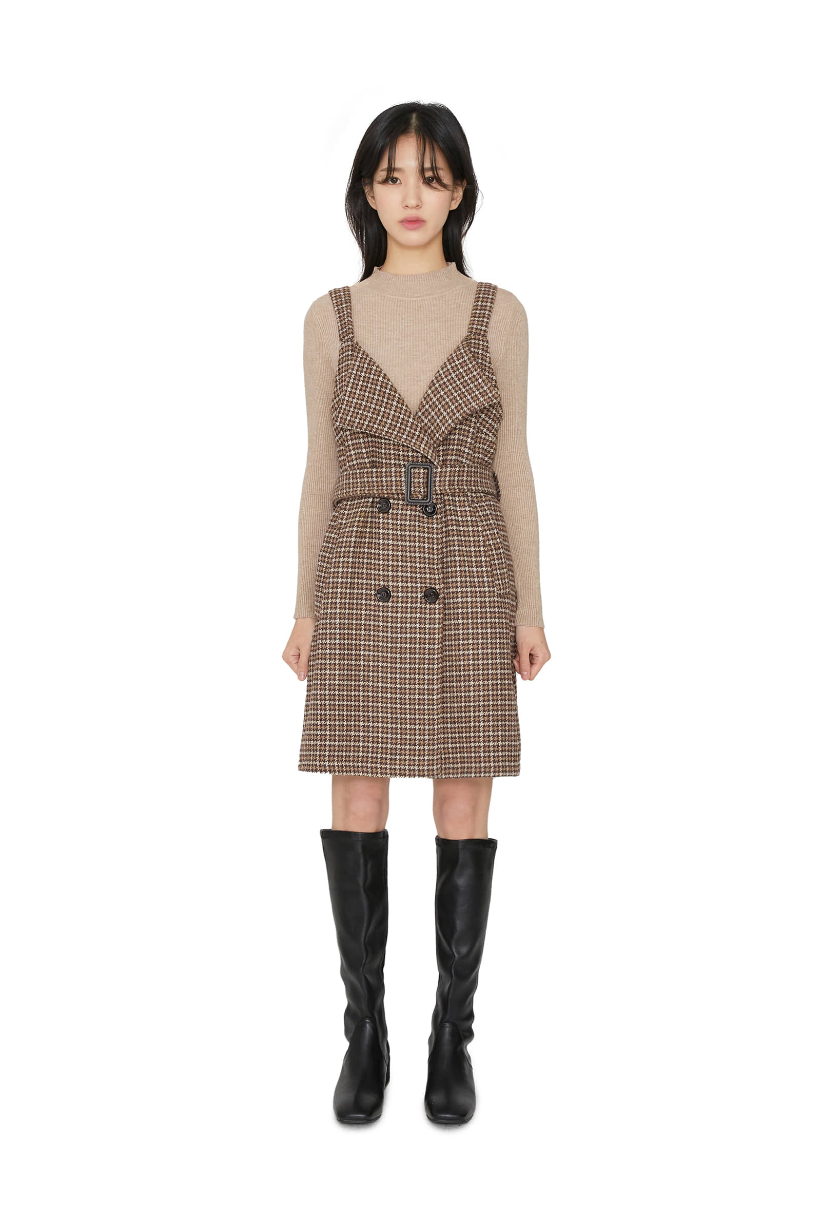 Cheese winter check mini dress