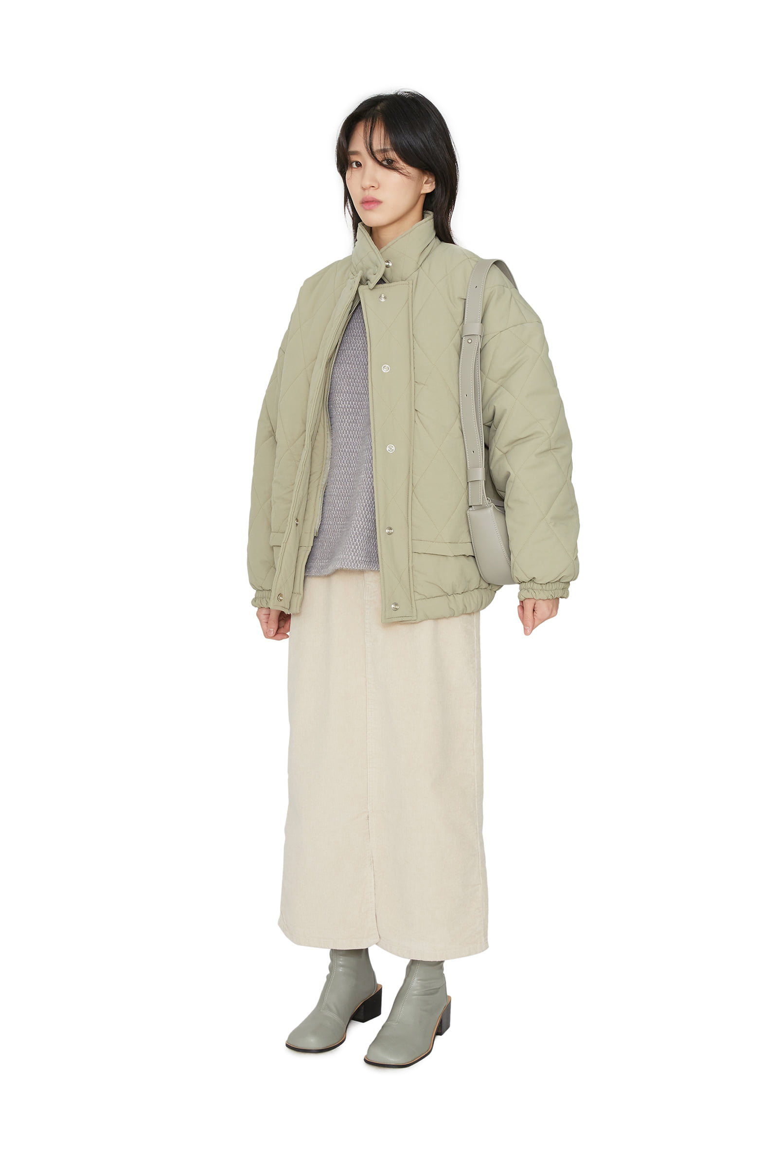 Wind half padded coat