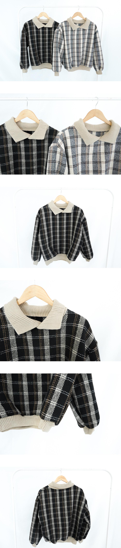 格子領針織長袖衣