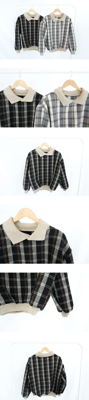 Bunny check collar knit