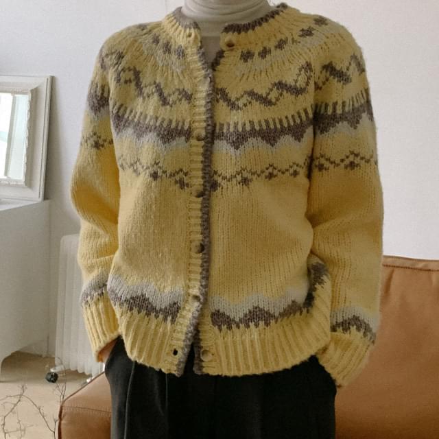 Copen Vintage Pattern Knit Cardigan