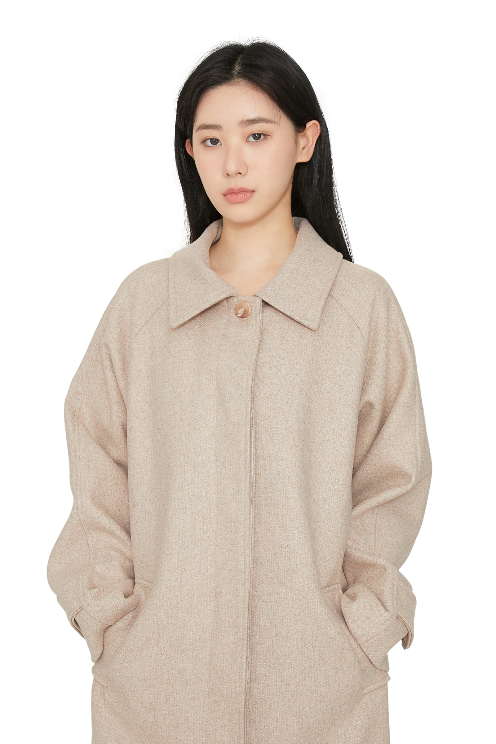 Rain wool single long coat