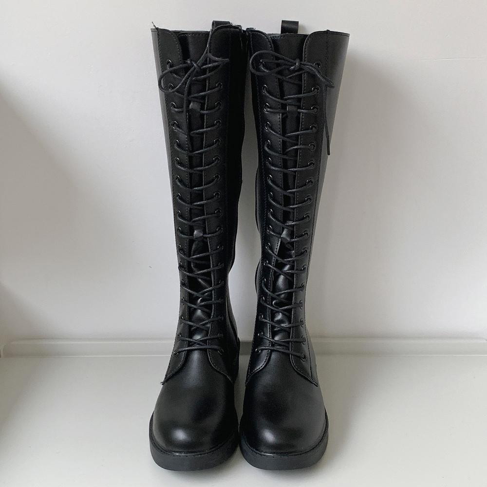 Lace-up Long Boots Walker 3.5cm