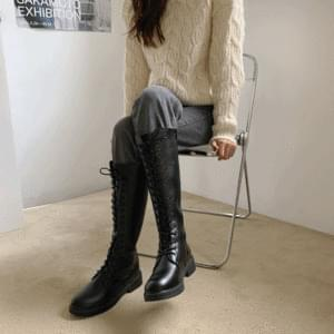 Lace-up Long Boots Walker 3.5cm