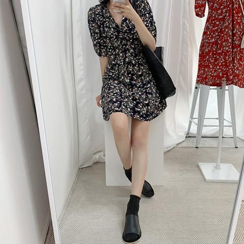 Summer Vacation V-Neck Flower Pattern Mini Dress