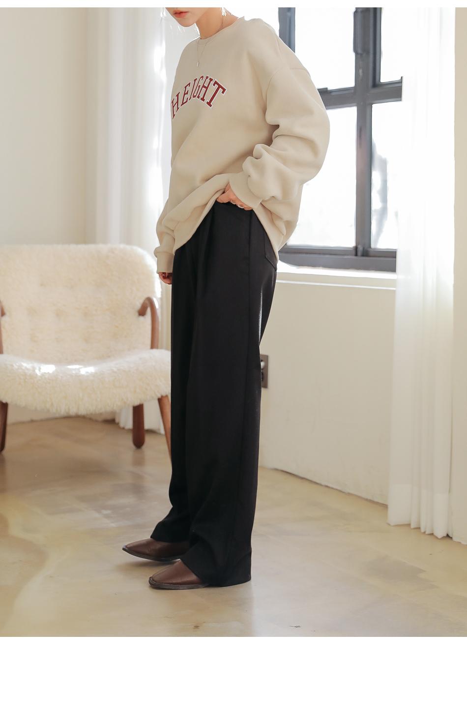 Pleat Accent Wide Leg Slacks