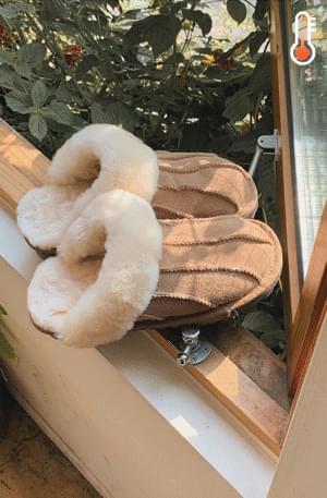 Real fleece slippers