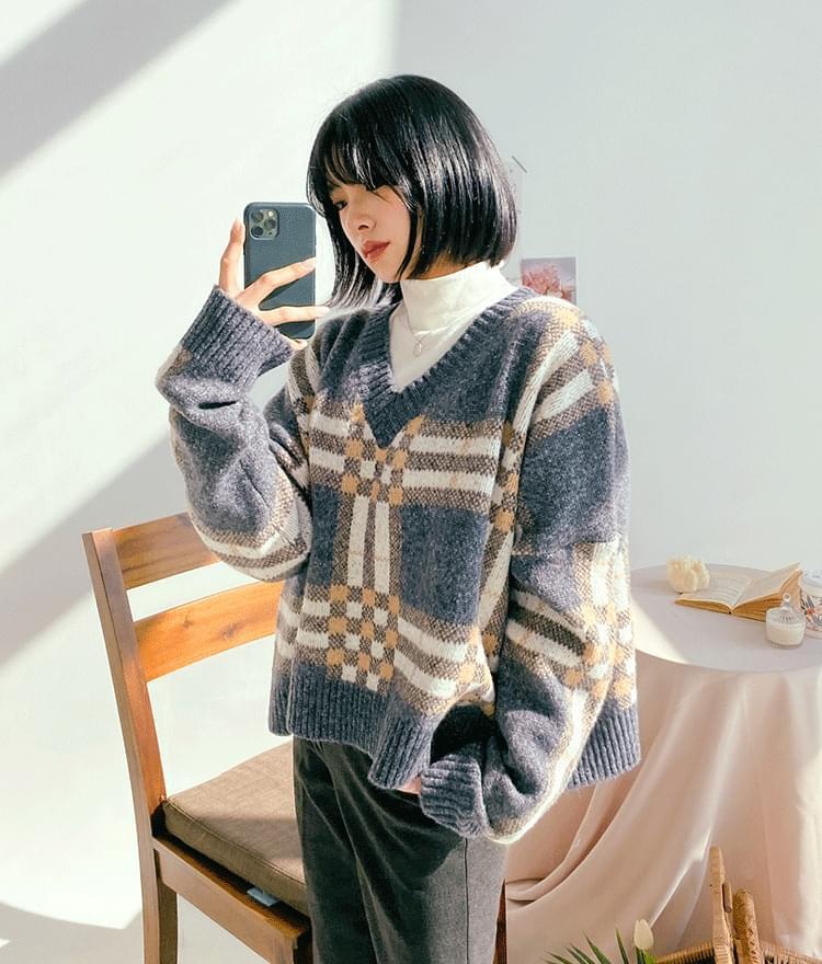 Wide check V-neck knit 針織衫