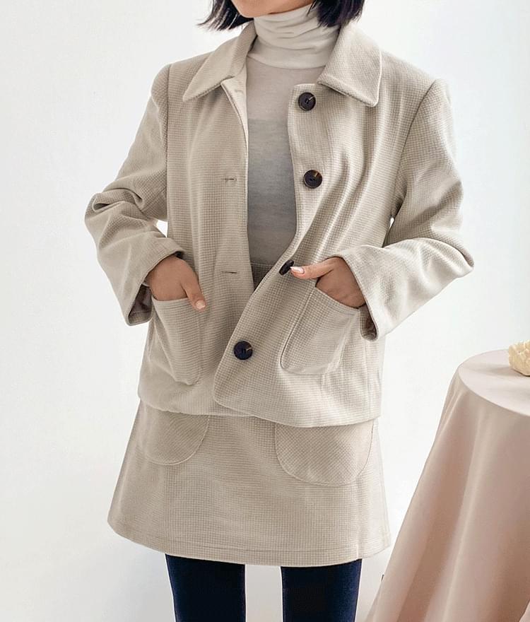 Sants check jacket skirt set セット