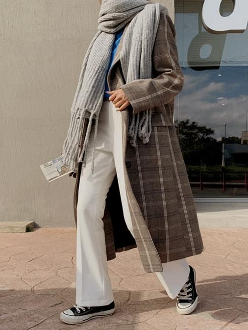 Baymuse Check Double Long Coat