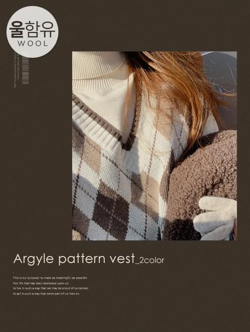 Ramswool Argyle Overfit Knit Vest