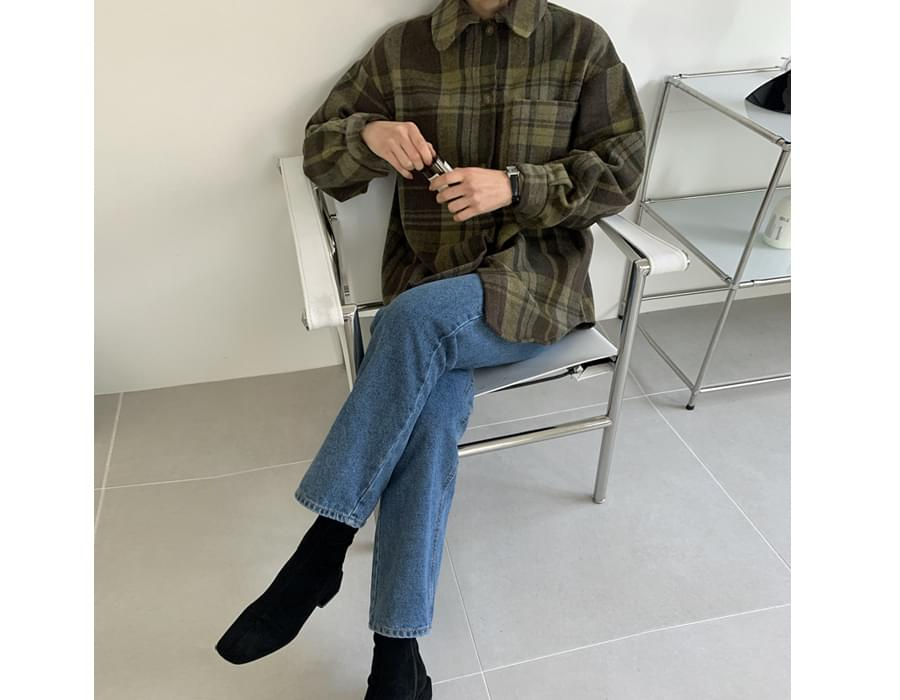 Earth Overfit Wool Check Shirt 襯衫