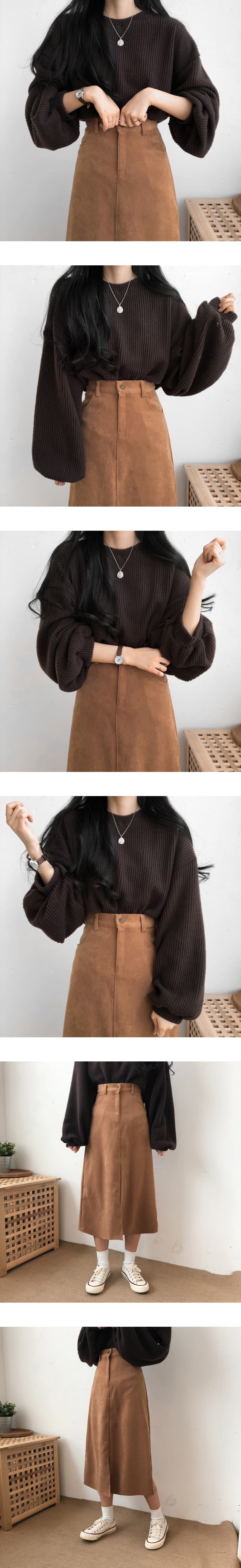 5065 Daily Front Split A-line Long Skirt